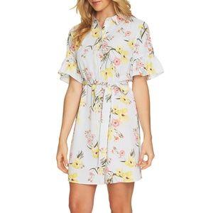 CeCe Women's Botanical Blooms Shirtdress w/Ruffle